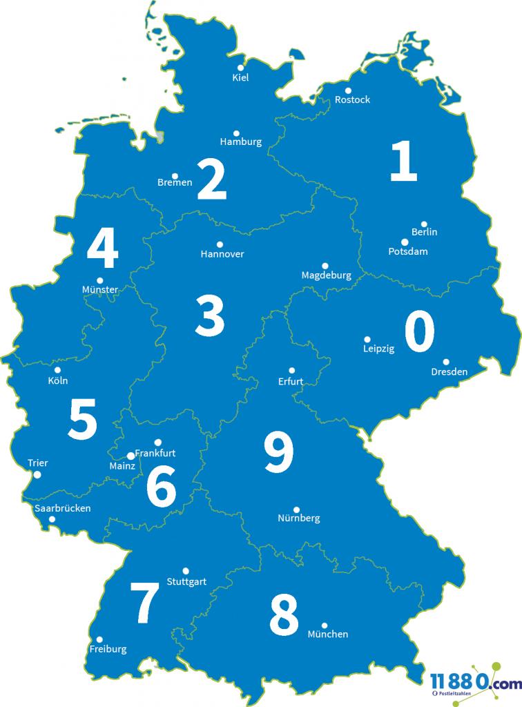 Deutschlandkarte PLZ Gebiete einstellig