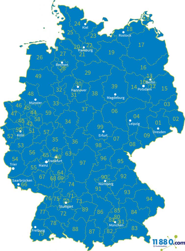 Deutschland PLZ Gebiete zweistellig