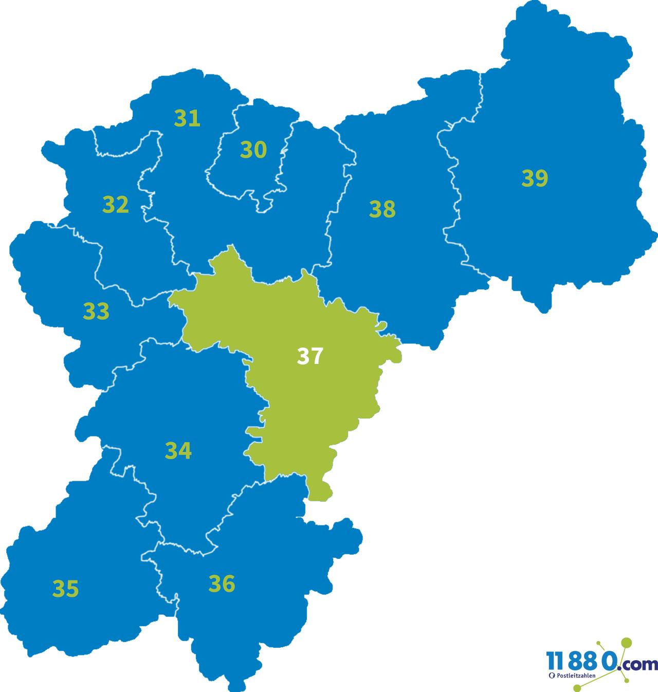 PLZ 37 - Postleitzahl Bereich 37 » postleitzahlen.de