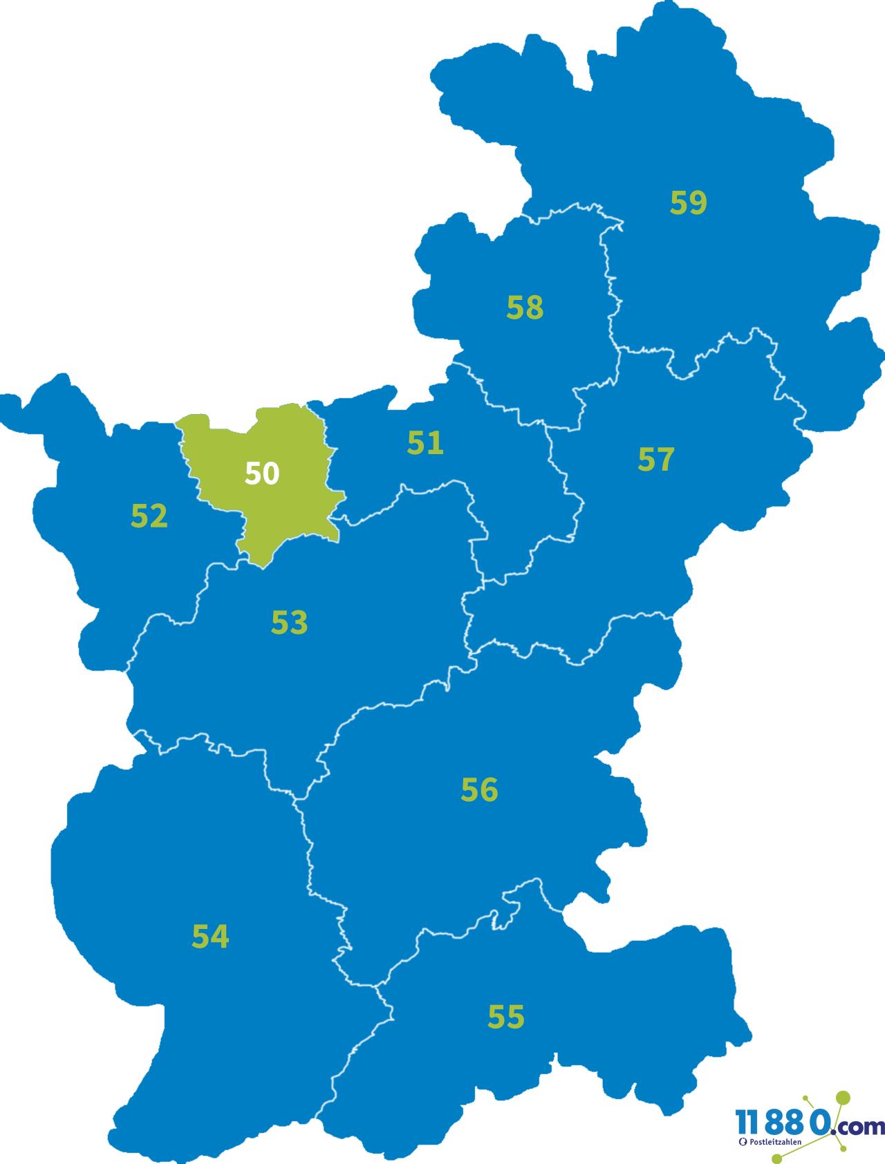 PLZ 50 - Postleitzahl Bereich 50 » postleitzahlen.de